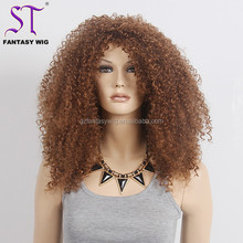 "Cheap Wholesale Wigs In Guangzhou 22"" Good Synthetic Hair 635 Brown Afro American Wigs And Pieces For Black Women"