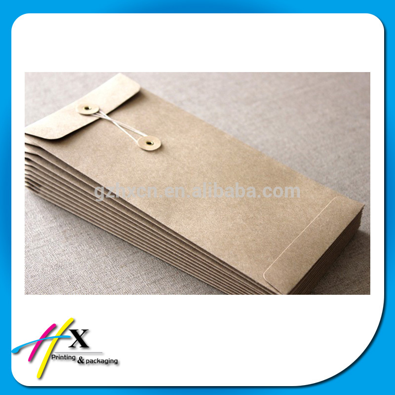 Brown Kraft paper envelope with button and string closure