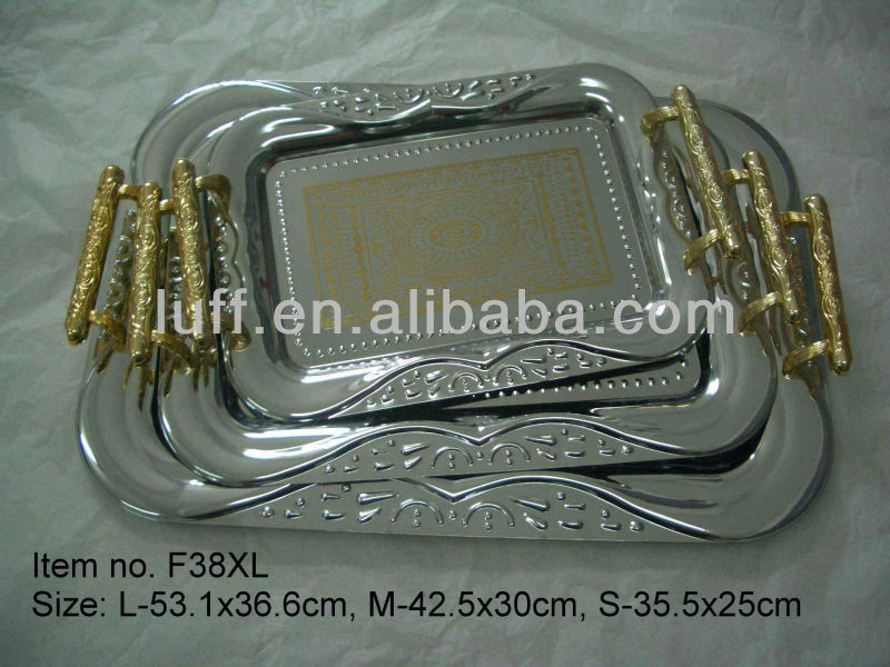 Fashion Exquisite Embossed stainless steel silver plated tray/serving plate/dinner plate