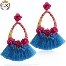ELX-00676 new design fabric artificial flower for jewelry making silk tassel hanging colorful hoop bohemia earrings for women