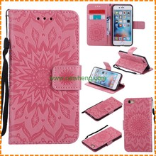 Sunflower embossing flip wallet leather stand mobile phone cover case for iphone 8