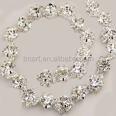 White Guipure trimmings Rhinestone trimming bridal veil trim for rhinestone bracelet