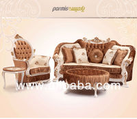 Pardis* 3,3,1,1, living room sofa/classical solid wood sofa/ fabric sofa
