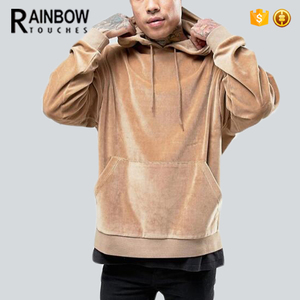 Wholesale Cheap Hot Sale Man Slim Fit Cotton Beige Velour Hoodie