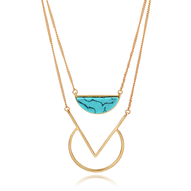 Gold Color Geometric Semi-circle Turquoise Marble Necklace , Multi Chain Neckalce