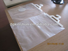 plastic hook hanging bag with handle clear plastic bag