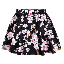 2015 Lady Skirt Sublimation Printing Floral Black Mini Skirt High Quality N13-8