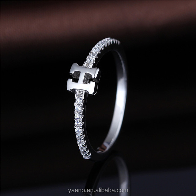 925 Silver Letter H Customized Ring Alphabet Initial Ring,Custom Initial Rings