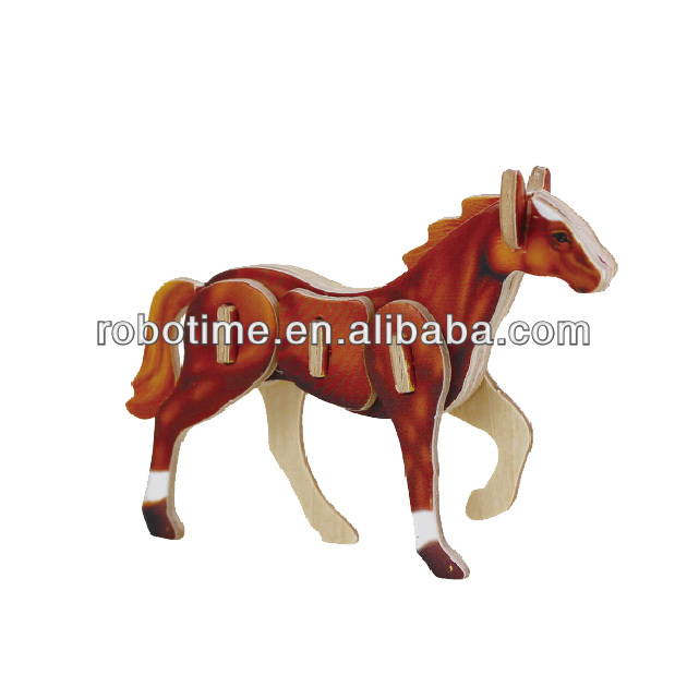 2014 NEW Robotime Educational Mini Animal promotional gift DIY wooden puzzle-Horse
