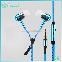 new products 2016 free samples mobile sport earphone & headphone, zipper headphone in ear earphone for iPhone/for android phones