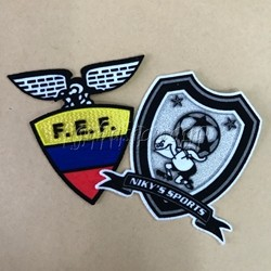 Design own logo custom 3d flocking patch press heat transfer felt patches