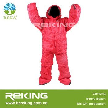 red sleeping bag human shape