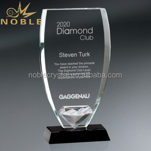 Business Gifts Engraved Logo Crystal Glass Shield Trophy Awards with Black Glass Base