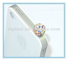 Rhinestone shamballa mobile phone dustproof plug