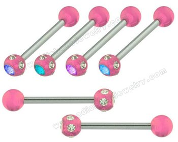 Jeweled Acrylic Ball Straight Barbell Tongue Rings