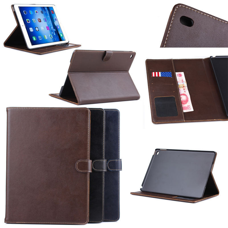 Case for ipad Air 2, for iPad Air 2 Retro Plain Leather Wallet Case