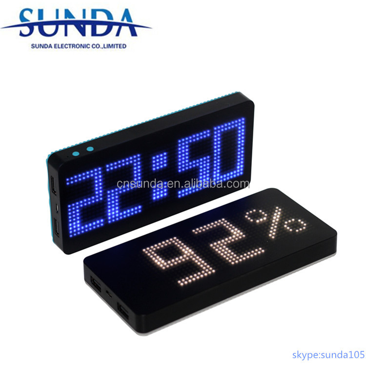 Private item of LED advertisement power bank with alarm clock function 8000mAh