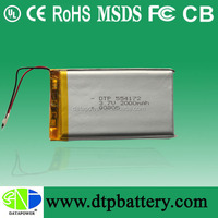 DTP554172 lithium ion polymer li-ion battery 3.7v 2000mah