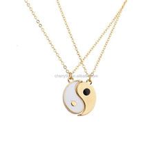 Silver Color Stainless Steel Best Friends Forever Diamond Chinese Element Gift Pendant Necklace