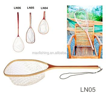 Long handle clear soft rubber wooden landing net view for Long handle fishing net
