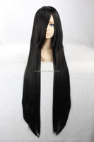 Hot sale high temperature fiber 100cm long black straight hair cosplay wig