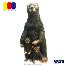 Handcraft Black Bear Mother And Kids Ornament Resin Bear Figurines