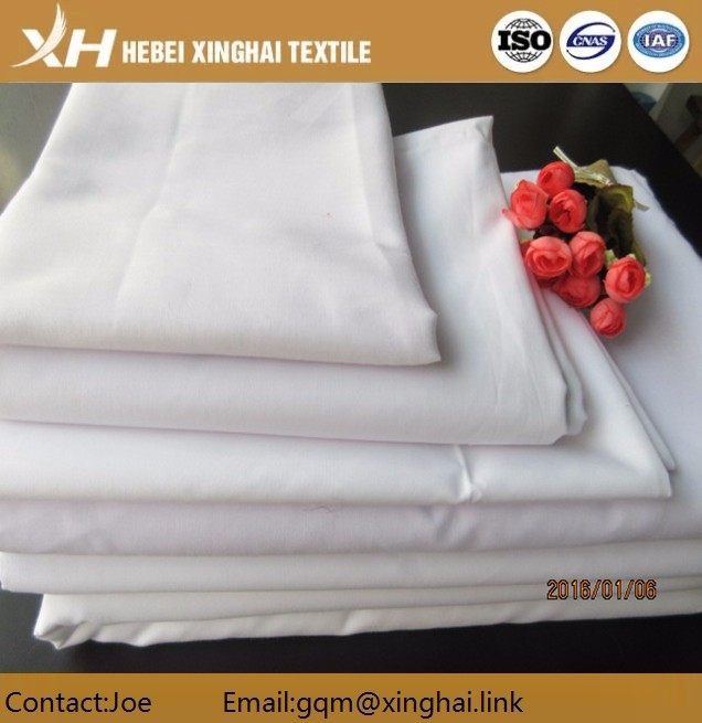 Hot sale volume produce T/C 65/35 Bleached Polyester Cotton Fabric for T-shirt/Dress/Suit