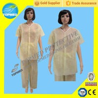 Disposable PP nonwoven isolation gown, medical patient gown for children or adult