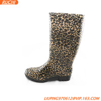 2015 leopard print fashion unique cheap women PVC rain boots new production