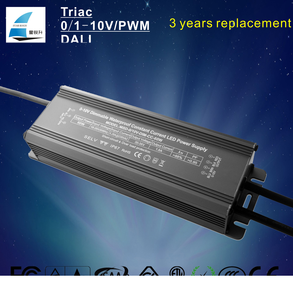 PF0.98 Eff88% 0/1-10V dimmable 60W led driver Constant Current with 3 Years Warranty