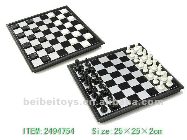 Magnetic Chess & Checkers, Black & White Chess Pieces