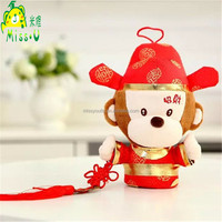 Hot Selling Stuffed Animal Plush Toys Festive Lucky Monkey Toys With Red Hat