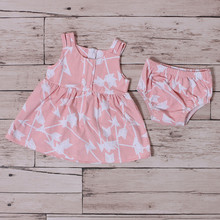 New born latest design cotton party star little girl sweet baby dress bloomer set
