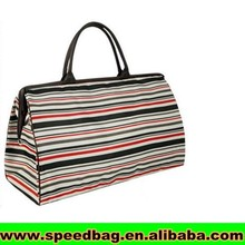 Stripe style travel luggage bag with pu handle