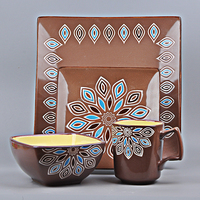 Home decor 2017 fresh design ceramic tableware 16 pcs stoneware dinner set
