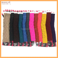 NEW multicolor lace trim factory wholesale cable knit 100% acrylic elbow length gloves