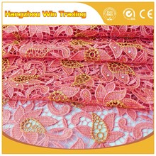 Hottest products 2016 korean style embroidered lace fabric wholesalers in united states