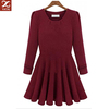 round neckline space cotton wine red teen dress
