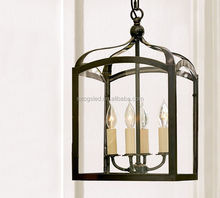 Chinese antique iron & glass lantern style chandelier