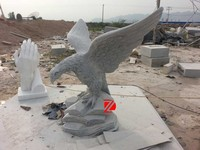 Hand Carving Black Garden Statue Eagle Design