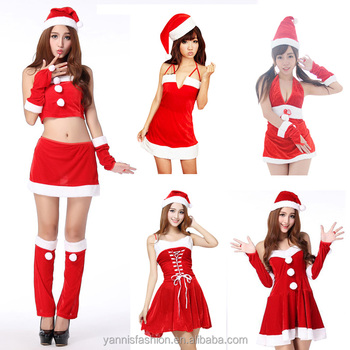 5 styles red christmas dress cosplay sexy santa costumes Xmas halloween costumes for women adult Uniform santa hats and dress