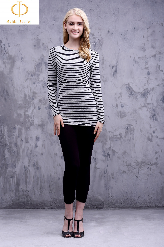 Woman Classic Casual Long Sleeves T-Shirt, Stripe High Quality T-Shirt From Manufacturer