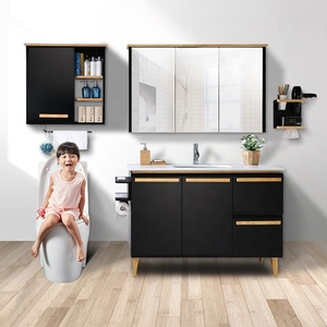 multiple combinations modern furniture corner floor standing wood custom waterproof bathroom cabinet