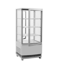 58L 68L 78L 98L Stainless Steel Commercial Cake Counter Top Drink Cabinet Four Side Glass Display Showcase