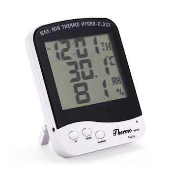 Max-min Indoor digital Thermometer Hygrometer big LCD display with Clock
