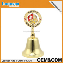 Unique gold plated Switzerland souvenir metal dinner cow bell