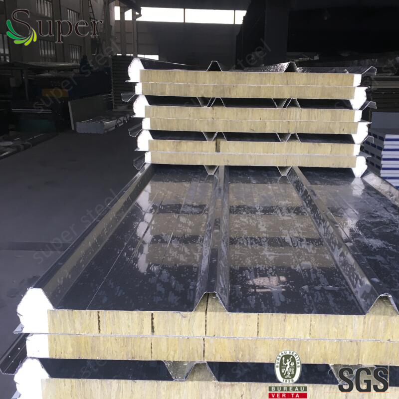 Fire-proof building construction material color steel composite materials rock wool sandwich panel