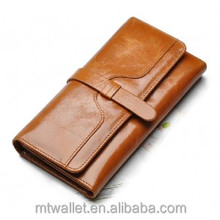 Tri fold soft genuine cowhide greased leather wallet