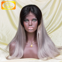 Hot Selling Silk Straight Virgin Malaysian Hair Ombre Dark Roots /grey Lace Front Wigs For Women