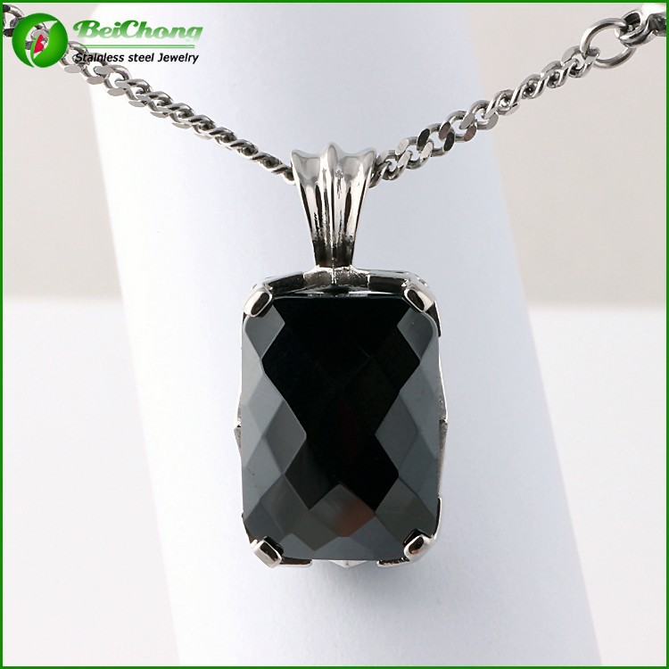 Artificial single big stone pendant sets vintage chain black stone pendant